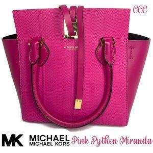 Michael Kors Small Pink Python Miranda Satchel Bag